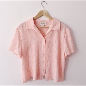 pink collared floral embroidered blouse